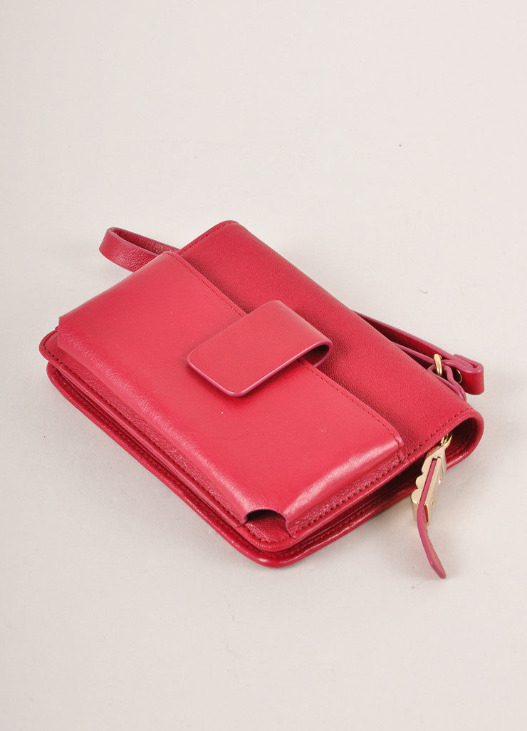 Lanvin Magenta Leather Wristlet Backview