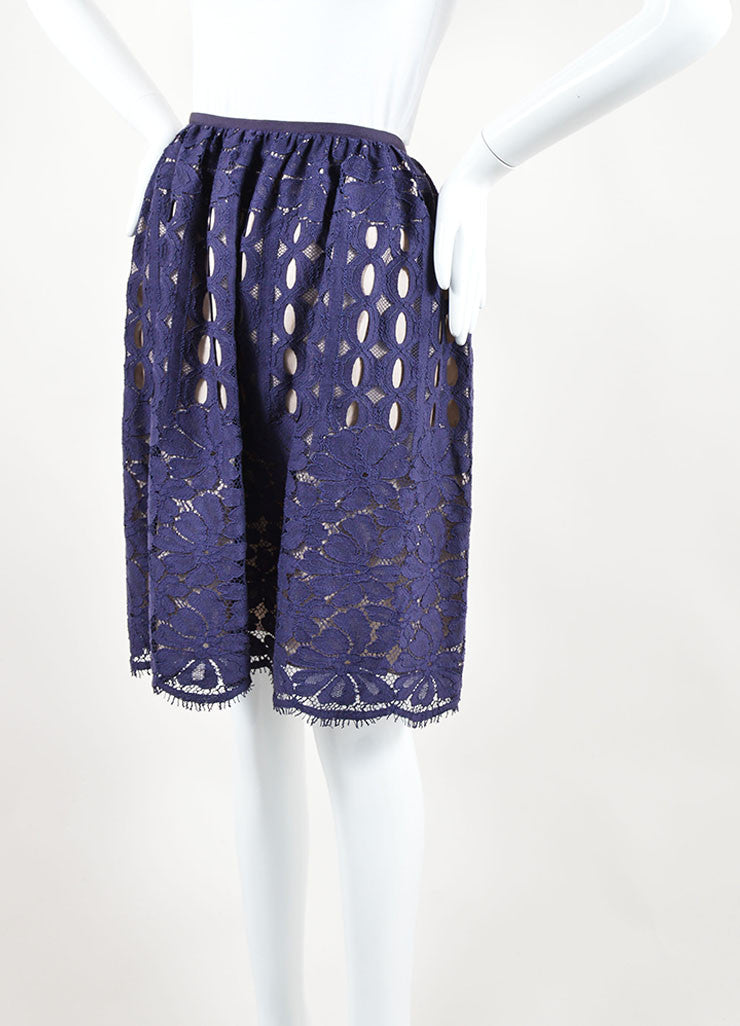Lanvin Navy Nude Cotton Silk Eyelet Lace A Line Skirt Side
