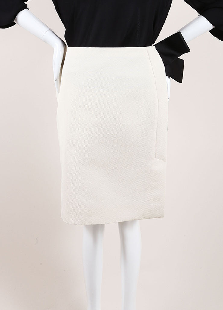 Lanvin New With Tags Cream and Black Textured Knit Oversized Bow Pencil Skirt Frontview