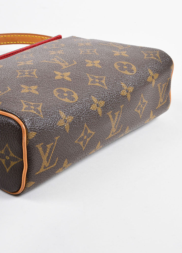 "Louis Vuitton Brown and Tan Coated Canvas Monogram ""Recital"" Shoulder Snap Bag Bottom View"