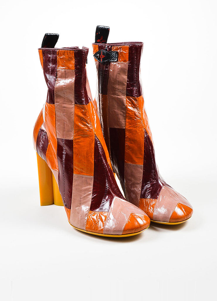 "Louis Vuitton Multicolor Eel Leather ""Instinct"" Patchwork Boots Frontview"