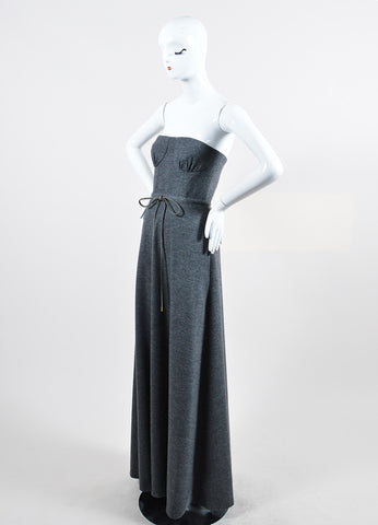 "Grey Lyn Devon Wool and Cashmere Strapless ""New Holly"" Maxi Gown Sideview"