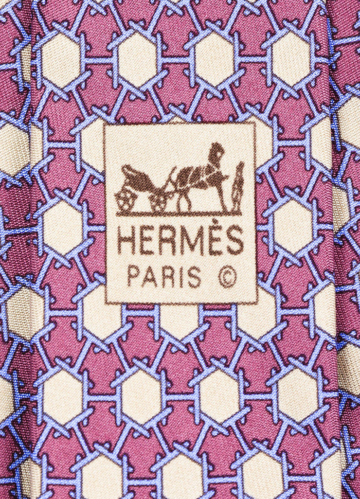 Men's Hermes Purple, Blue, and Beige Silk Geometric Print Necktie Brand