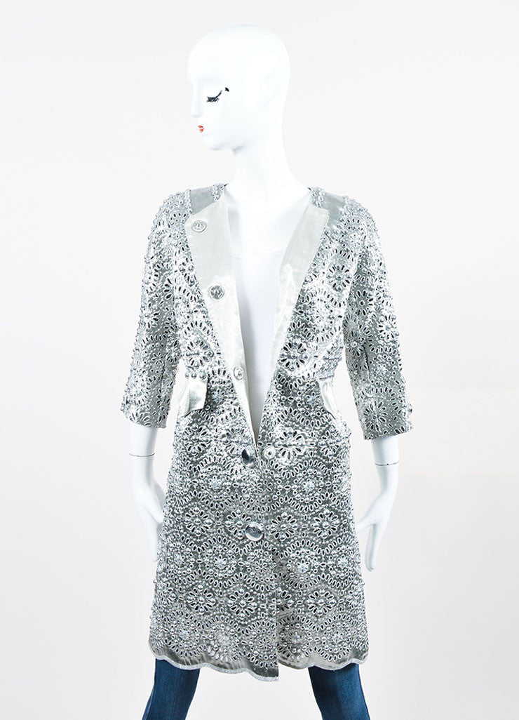 Silver Metallic Marc Jacobs Eyelet Embellished Mid Sleeve Coat Frontview