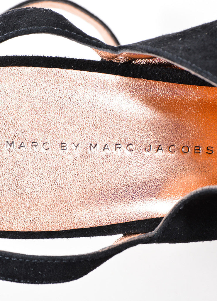 Marc by Marc Jacobs Black and Rose Gold Suede Platform Slingback Chunky Heels Brand