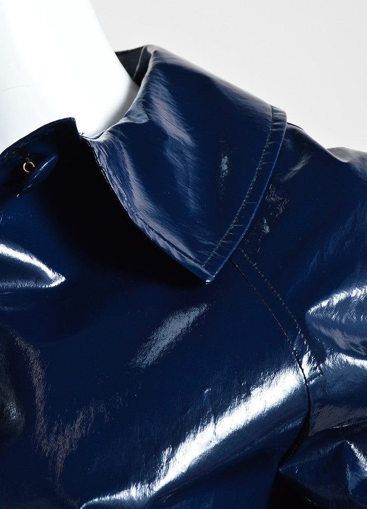 Martin Grant Navy Blue Patent Belted Cropped Jacket Detail