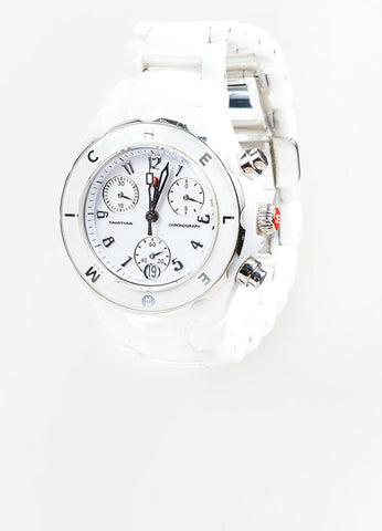 "White Ceramic and Stainless Steel Michele ""Tahitian"" Chronograph Bracelet Watch Frontview"