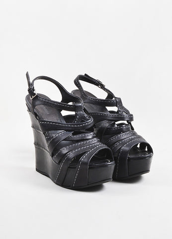 Black Miu Miu Leather Top Stitch Strappy Wedge Sandals Front