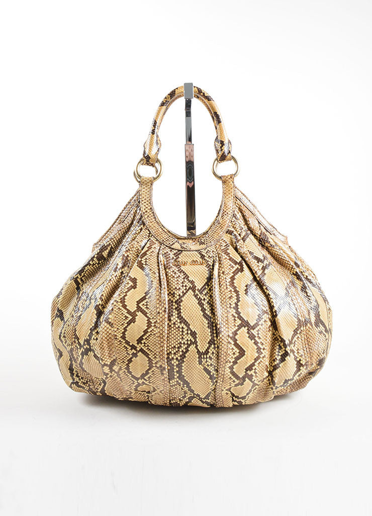 Miu Miu Brown and Beige Python Leather Hobo Bag Frontview