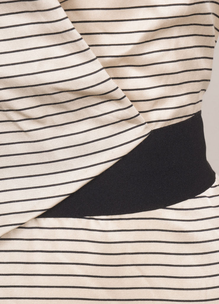 3.1 Phillip Lim Nude and Black Cotton and Silk Striped V-Neck Sleeveless Dress Detail