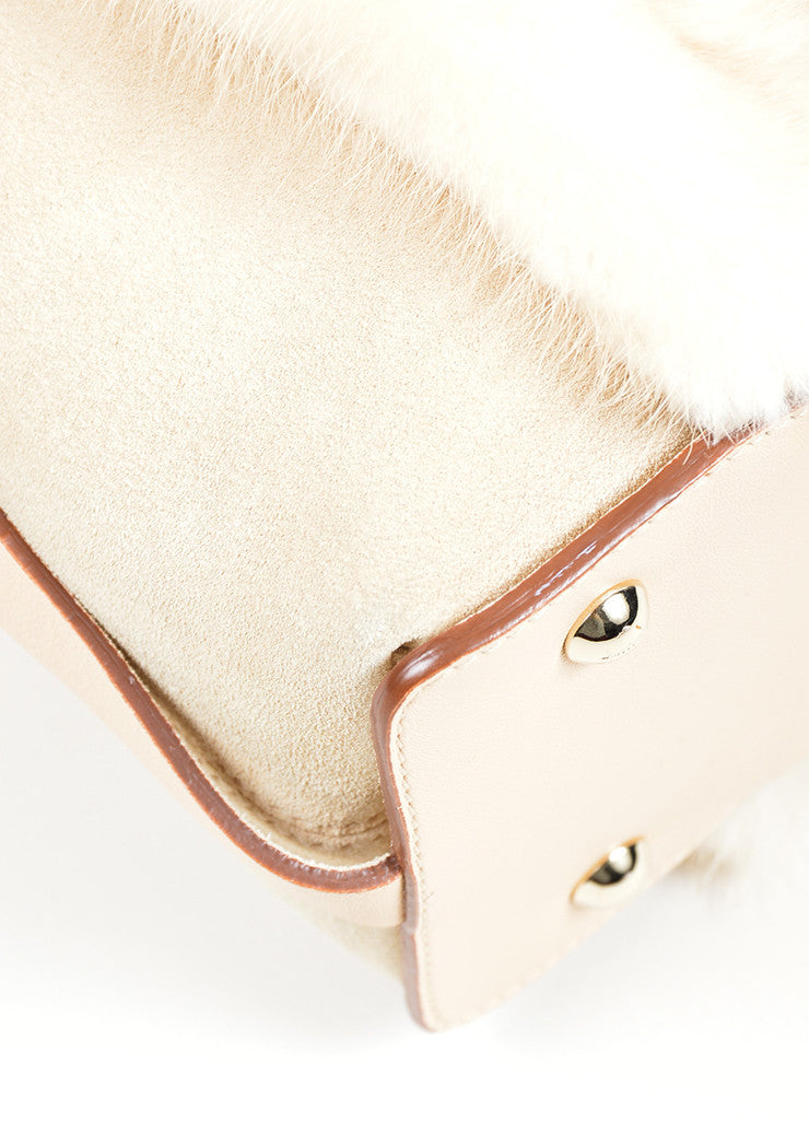 Beige Salvatore Ferragamo Suede and Mink Fur Handle Shoulder Bag Detail
