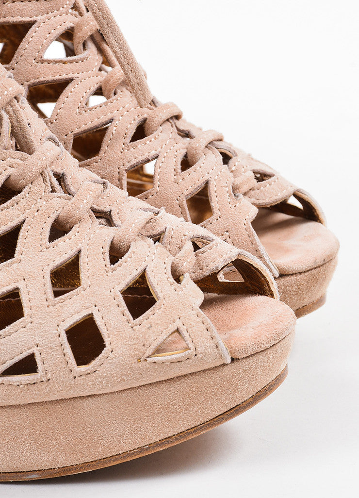 See by Chloe Nude Suede Cut Out Platform Open Toe Heels Detail