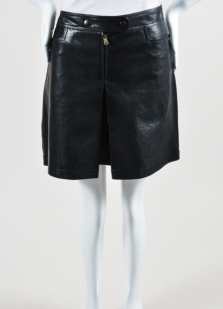 Black Tomas Maier Coated Leather Pleated Skort Frontview