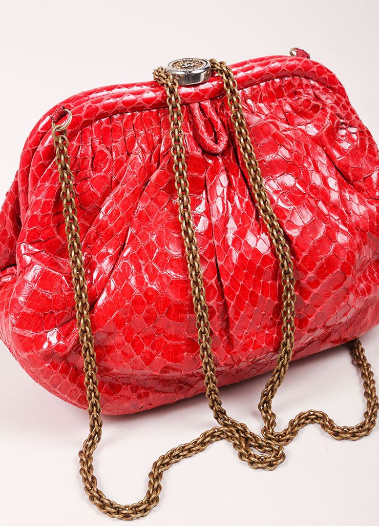 Chanel Red Python Clutch Bag  Sideview 2