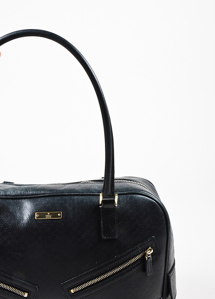 Gucci Black and Gold Toned Leather 'GG' Imprime Zip Detail Tote Bag Detail 2