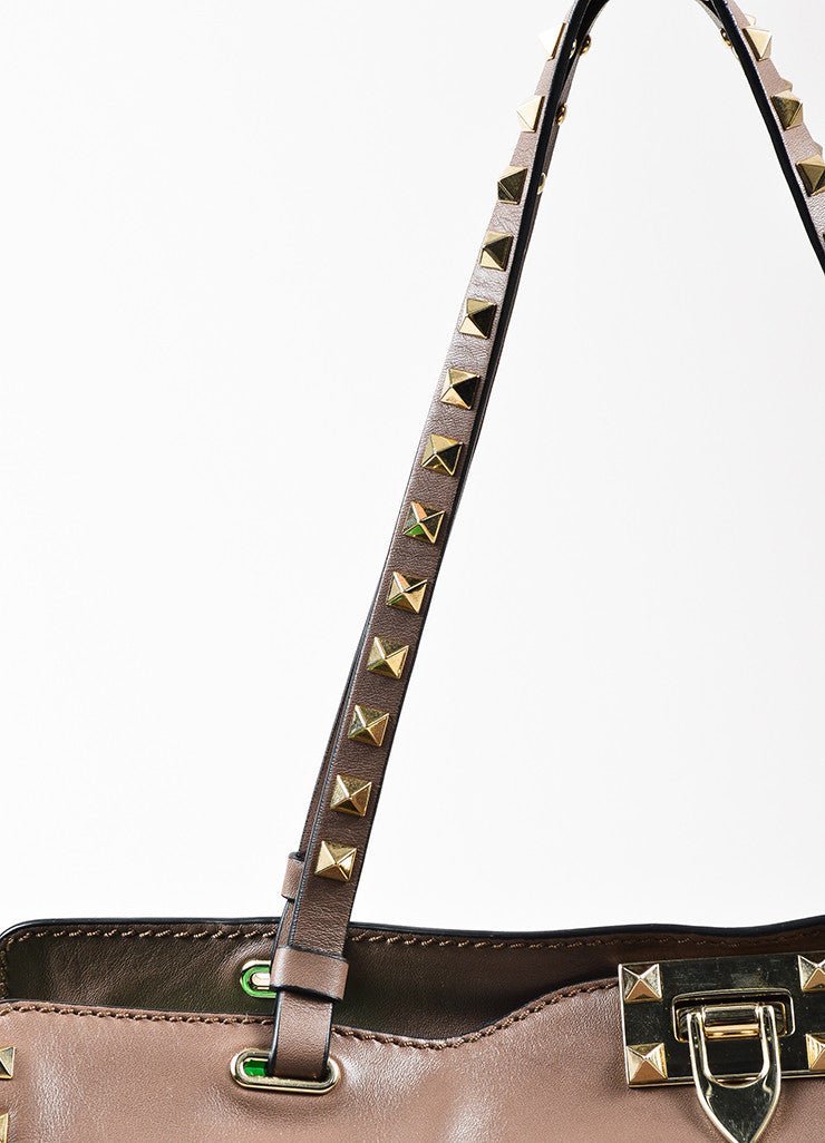 Valentino Taupe Leather Gold Toned Rockstud Medium Tote Bag Detail 2