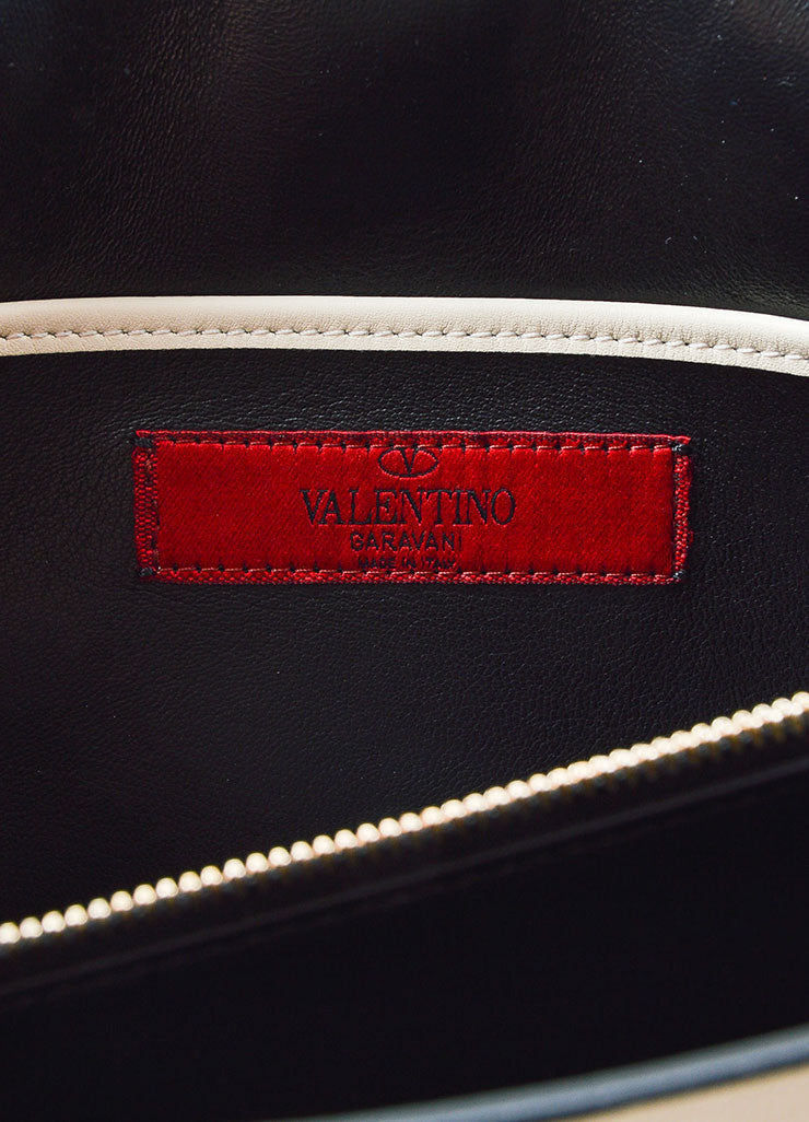 Black and White Two Toned Valentino Leather Rectangle Clutch Bag Brand