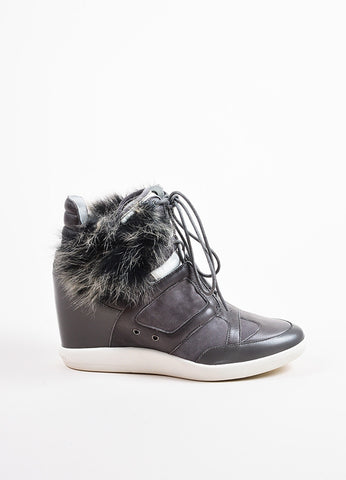 "Y-3 Yohji Yamamoto Grey Suede Leather Fur ""Sukita"" High Top Sneakers Side"