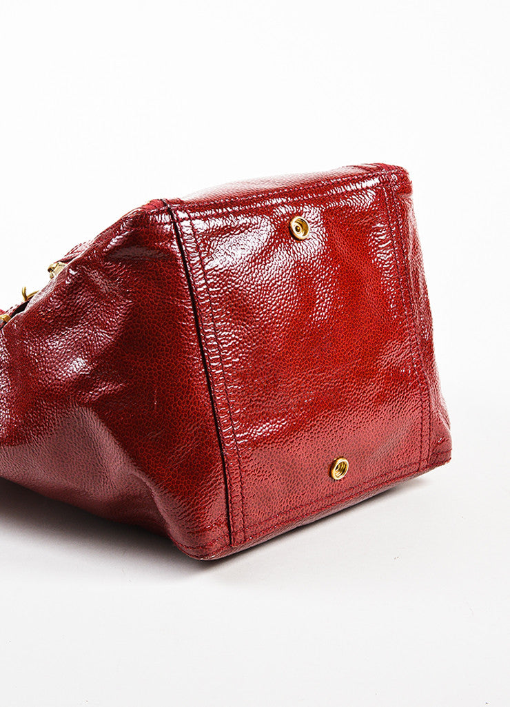 "Yves Saint Laurent Rive Gauche Red Patent Leather Small ""Downtown"" Bag Bottom View"