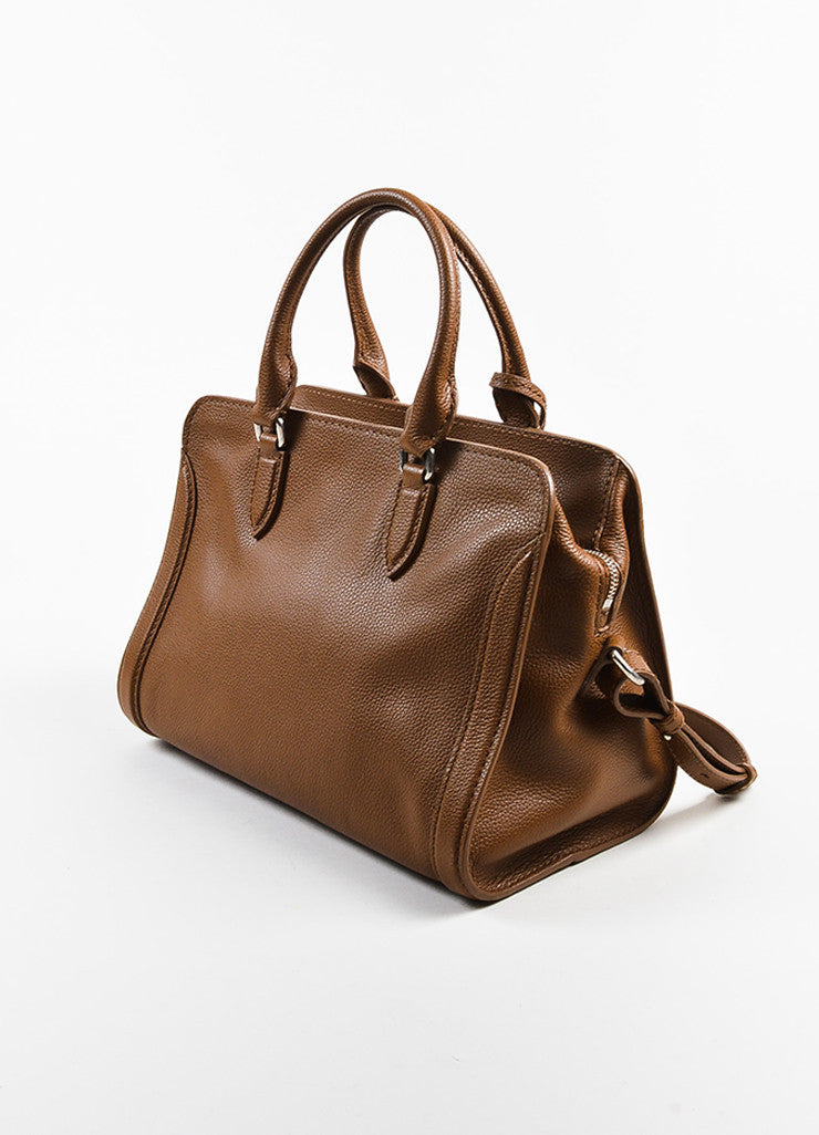 "Alexander McQueen Brown Pebbled Leather ""Small Padlock Satchel"" Bag Sideview"