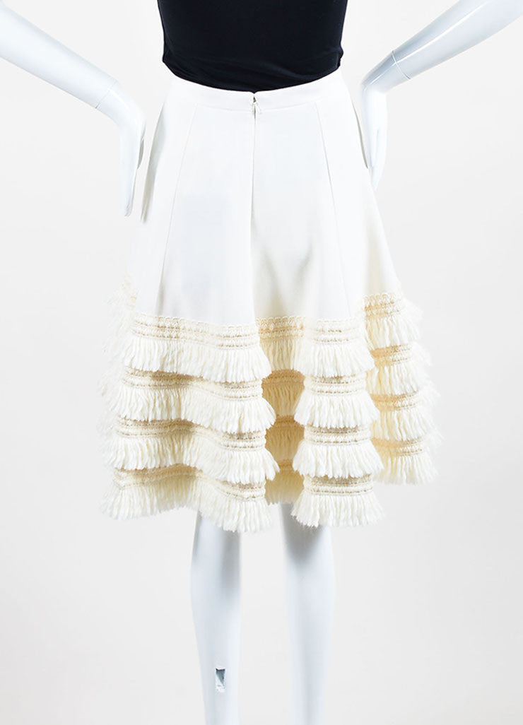 Cream Andrew Gn Virgin Wool Tiered Fringe A-Line Skirt Backview