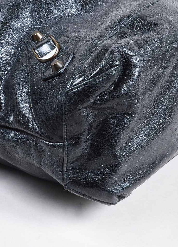 "Black Coated Leather Balenciaga ""Classic Giant Day"" Hobo Bag Detail"