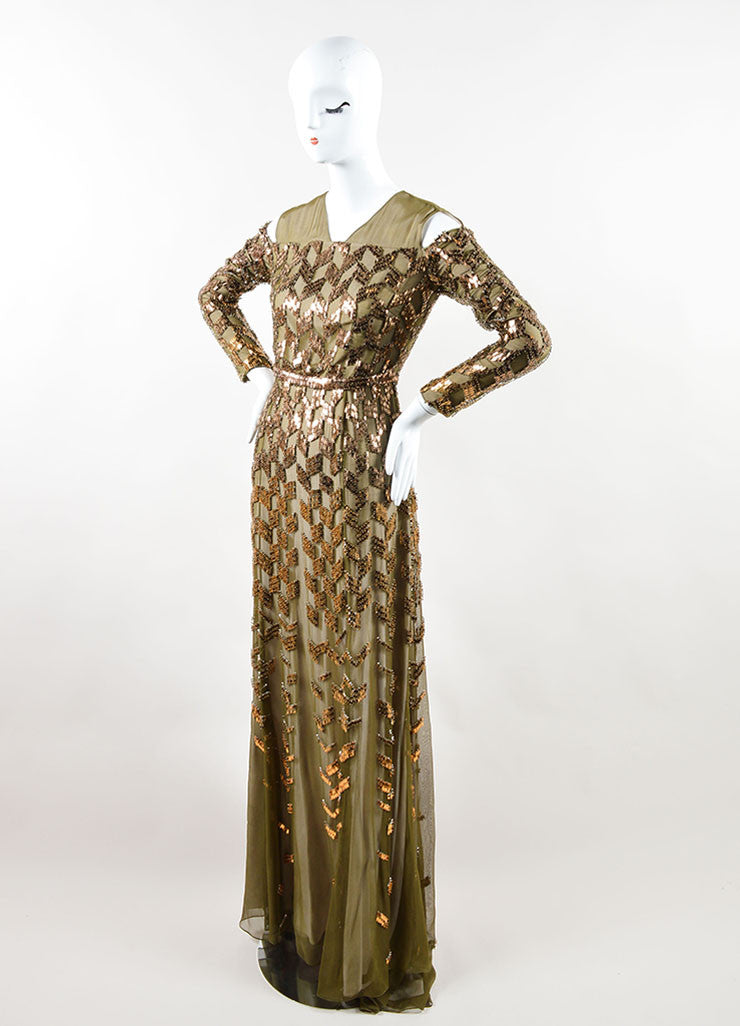 Bibhu Mohapatra Olive Copper Embellished Long Sleeve Gown Sideview