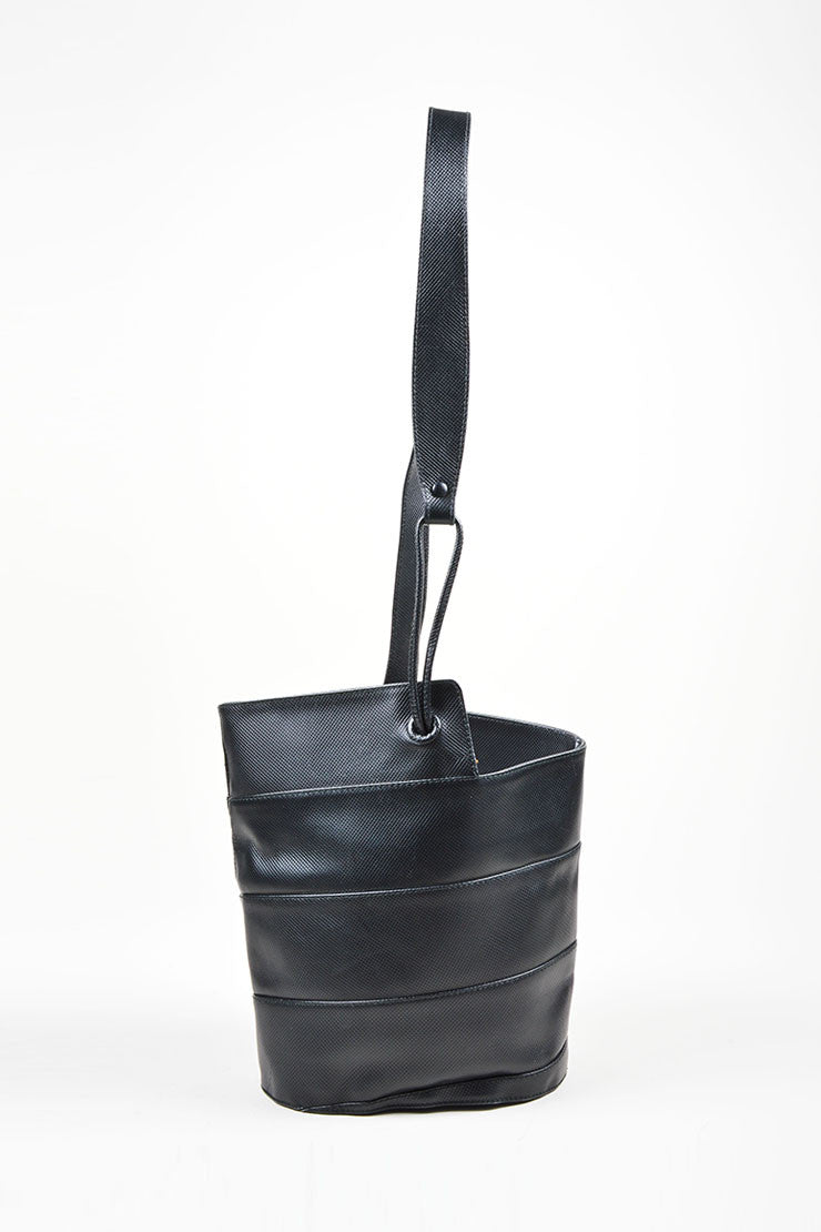 Black Bottega Veneta Diamond Textured Paneled Bucket Bag Frontview