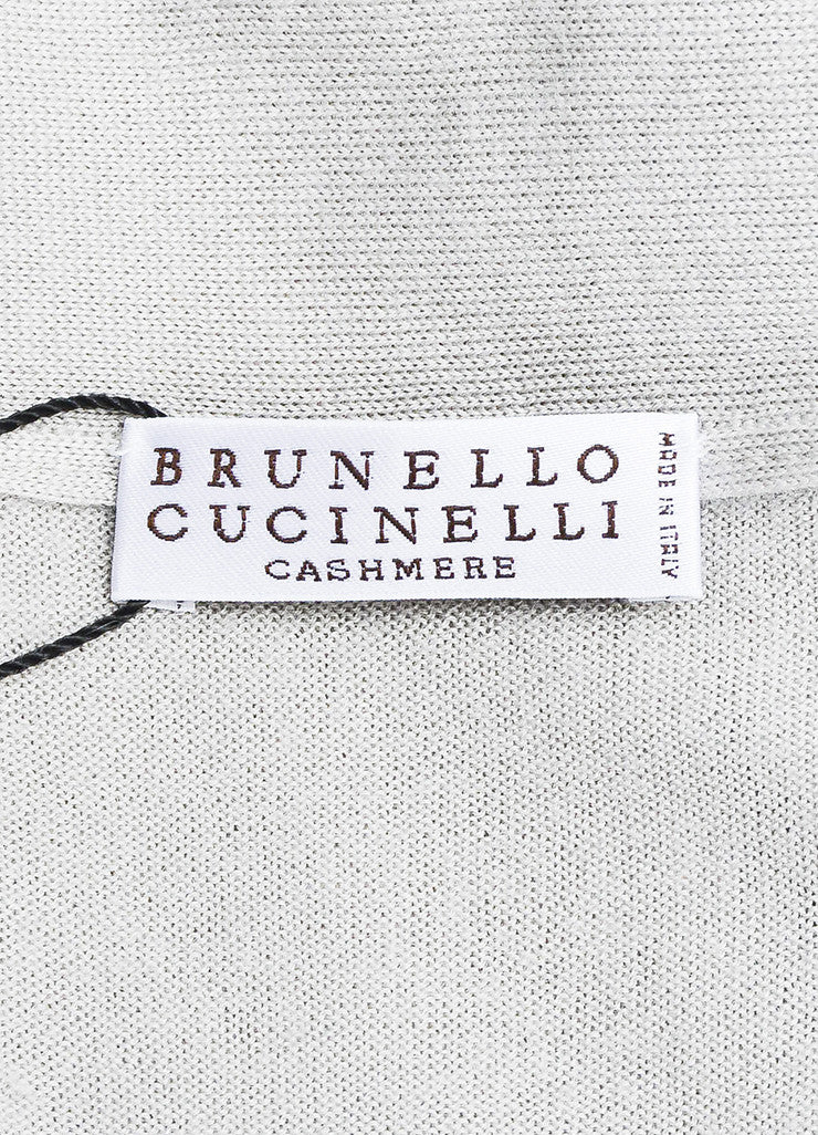 Grey Brunello Cucinelli Cashmere and Silk Beaded Neck Sweater Brand