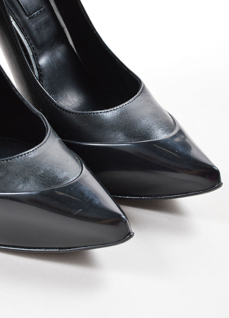 Burberry Prorsum Black Leather Pointed Toe Platform Pumps Detail
