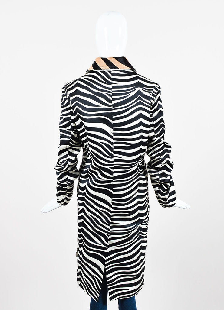 Celine White, Black, and Tan Zebra Striped Pony Hair Collar Jacket Backview