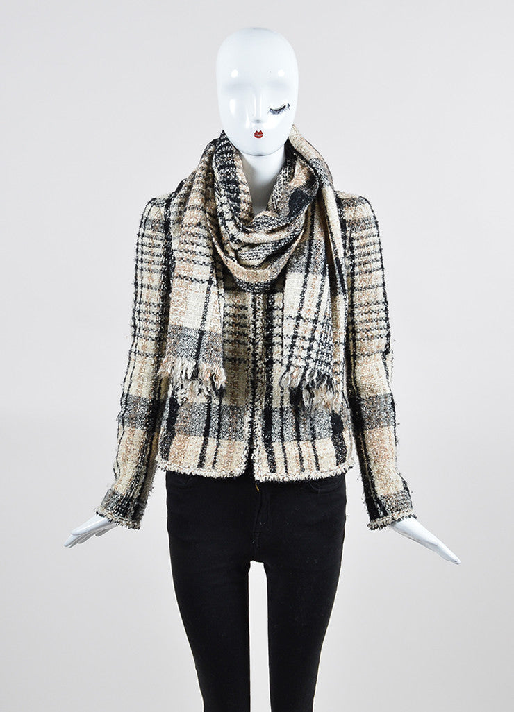 Cream and Black Chanel Plaid Tweed Frayed Zip Up Scarf and Jacket Set Frontview