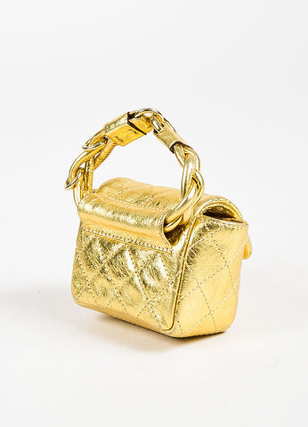 "Chanel Gold Metallic Quilted Leather ""Reissue Anklet"" Mini Bag Sideview"