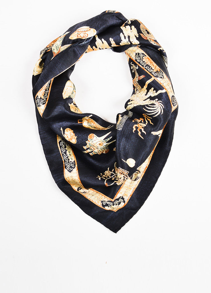 Chanel Black Multicolor Silk Village Print Scarf Front