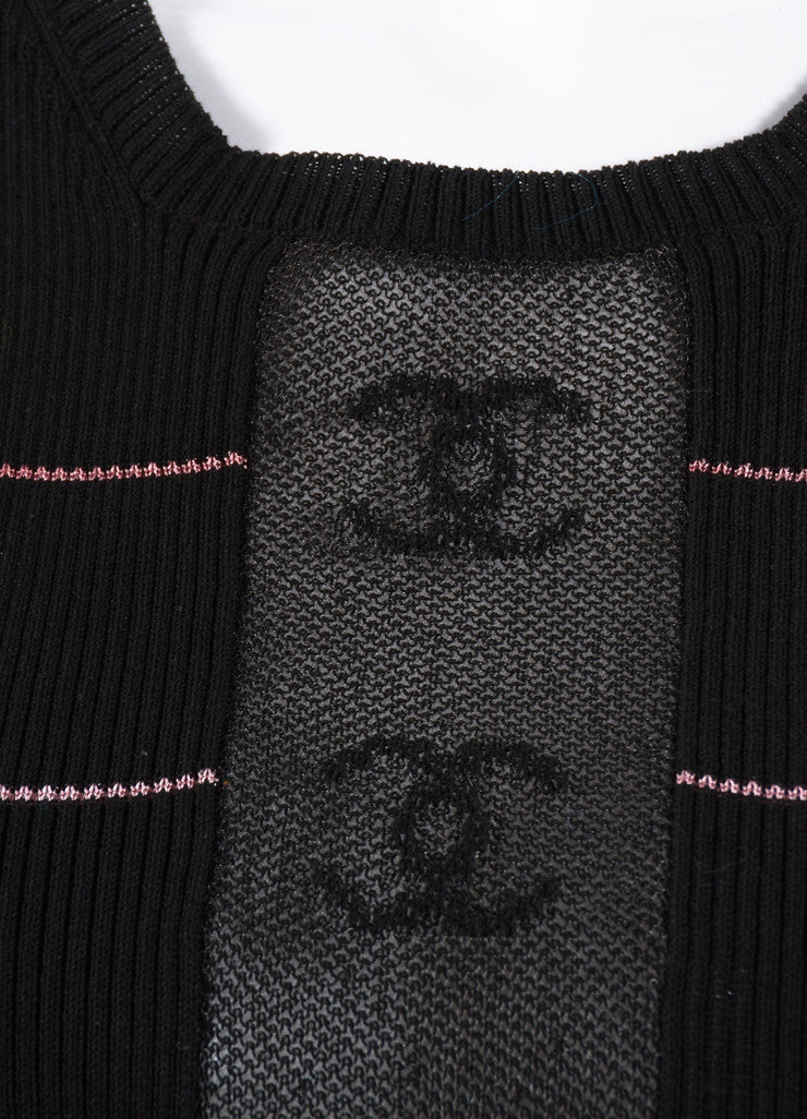"Chanel Black and Pink Striped Ribbed Knit ""CC"" Sheer Panel Tank Top Detail"