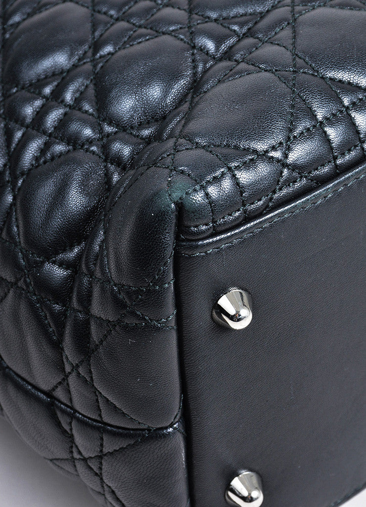 Black Christian Dior Leather Lady Dior Large Cannage Tote Bag Detail