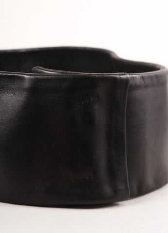 Costume National New With Tags Black Leather Wide Belt Detail