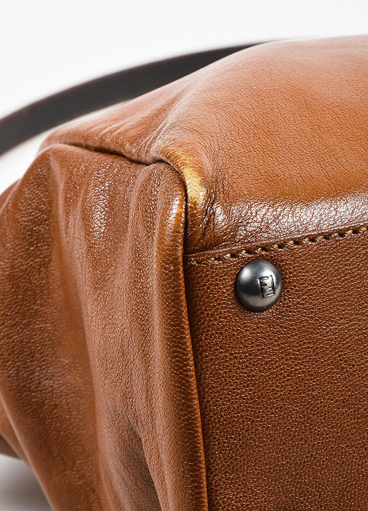 "Fendi Brown Leather Small ""Peekaboo"" Bag Detail"