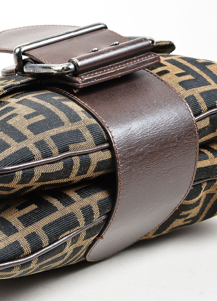 Brown and Black Fendi Canvas and Leather Monogram Crossbody Belt Bag Bottom View