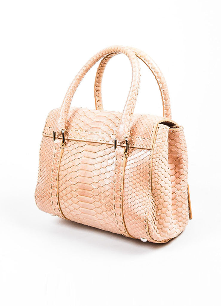 "Tan Fendi Python Snakeskin ""Selleria Linda"" Top Handle Small Handbag Sideview"