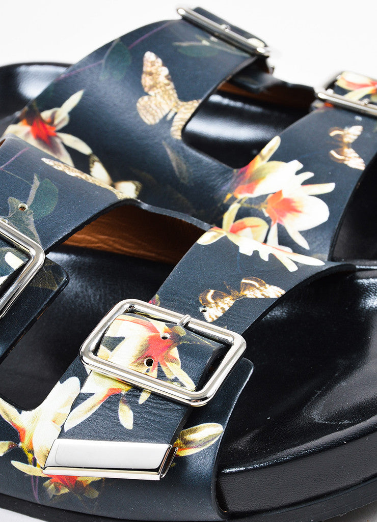 Black and Multicolor Givenchy Floral Print Dual Buckled Slide Sandals Detail