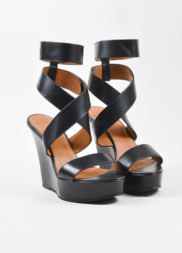 "Givenchy Black Leather Wrap Strap Platform Wedge Heel ""Corinne"" Sandals Frontview"