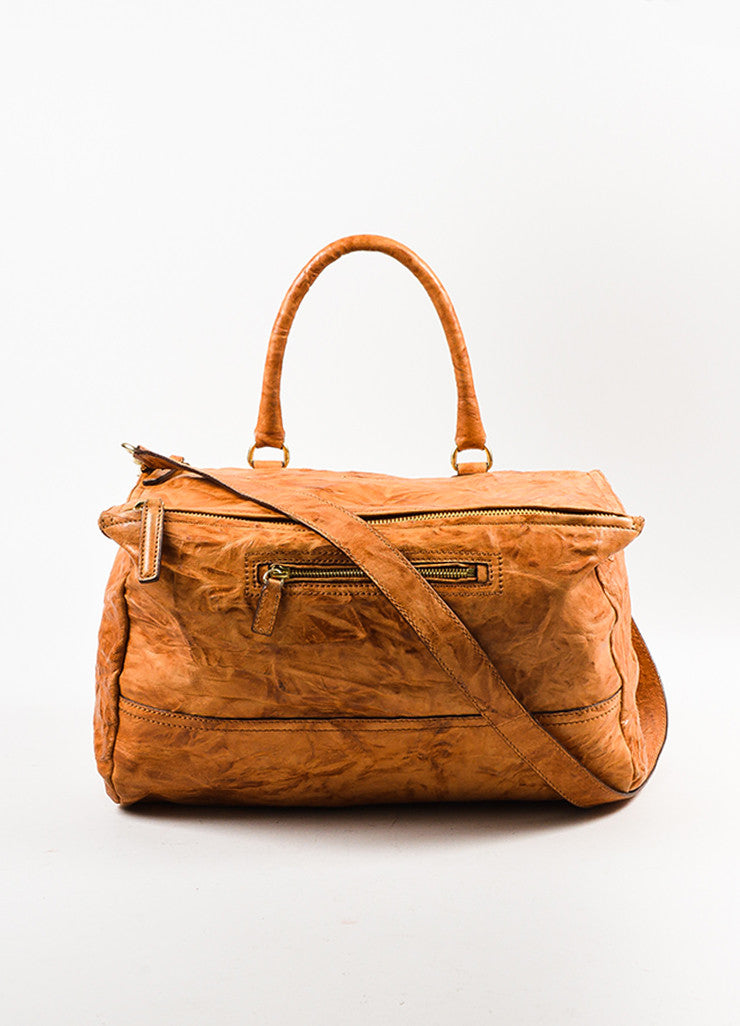 "Givenchy Tan Wrinkled Leather ""Large Pandora"" Shoulder Bag Frontview"