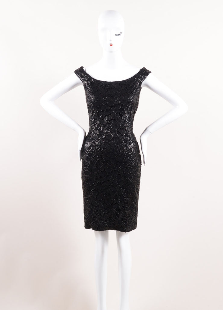 Gucci Black Coated Floral Lace Overlay Sleeveless Boatneck Sheath Dress Frontview