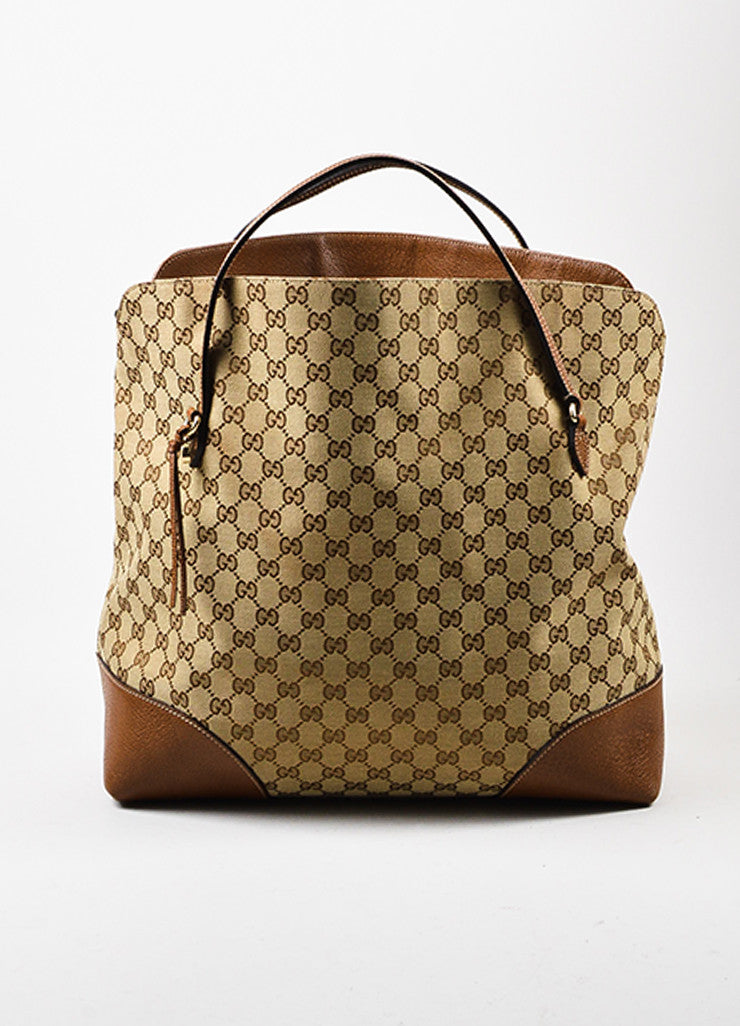 "Gucci Tan and Brown Canvas Leather Monogram ""Bree"" Carryall Shoulder Strap Tote Bag Frontview"