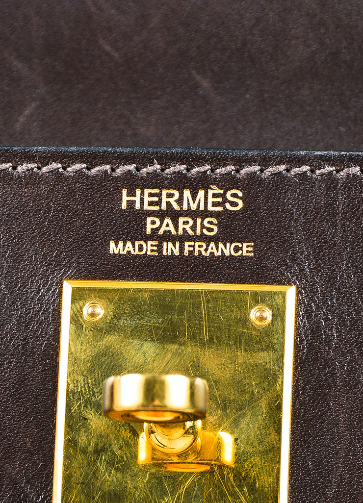 "Hermes Chocolate Brown Gold Toned Box Calf Leather 32cm Sellier ""Kelly"" Handbag Brand"