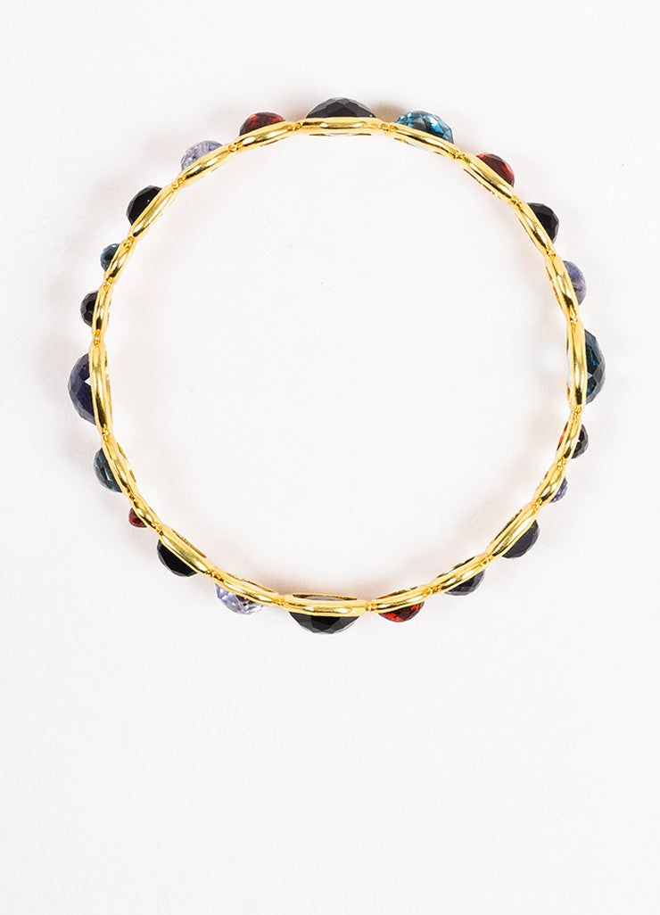 "Ippolita 18K Yellow Gold Multicolor Gemstone ""Rock Candy"" Bangle Bracelet Topview"