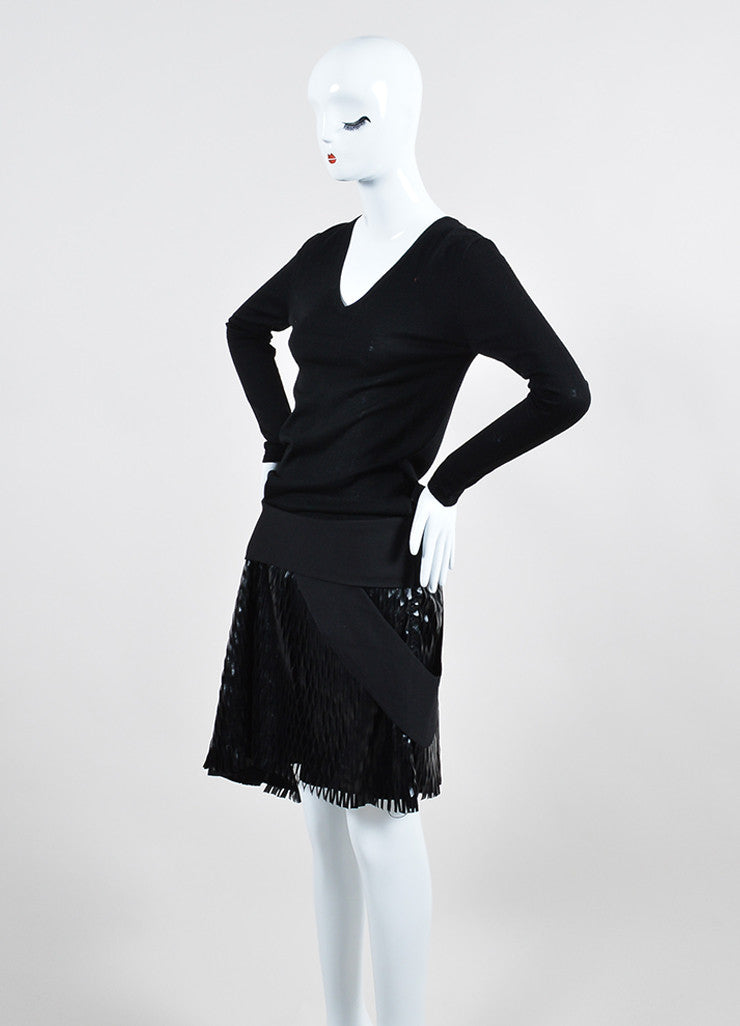 Black Jay Ahr Wool Laser Cut Faux Leather Dress Sideview
