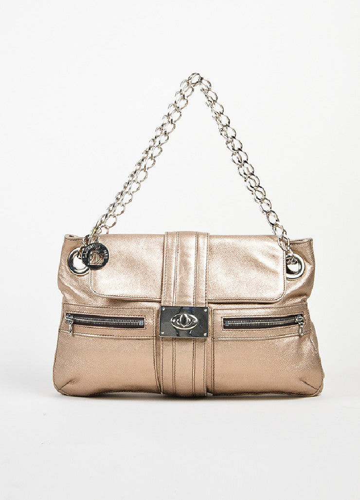 "Metallic Gold Leather Lanvin ""Hero"" Shoulder Bag Frontview"