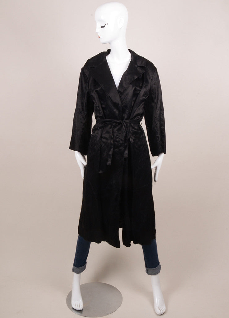 Lanvin Black Cotton Blend Buttoned and Belted Trench Coat Frontview